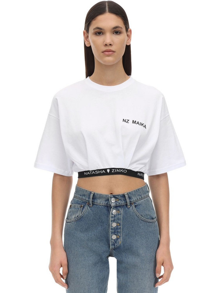 NATASHA ZINKO Cropped Cotton T-shirt W/ Logo Hem in white