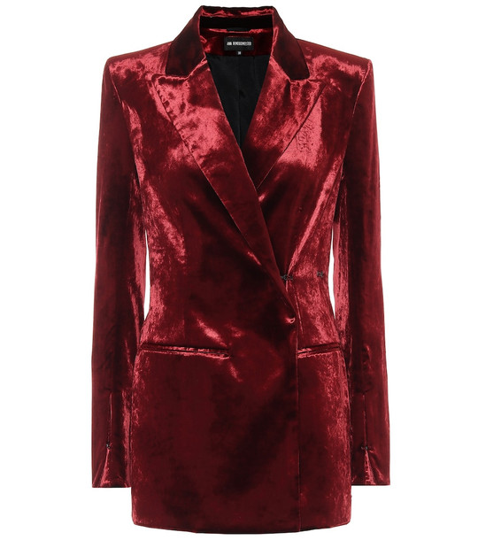 Ann Demeulemeester Stretch-cotton velvet blazer in red