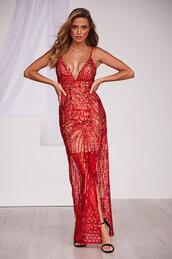 dress,sequin maxi dress,red,formal,prom dress,homecoming dress,sequins,thigh high split