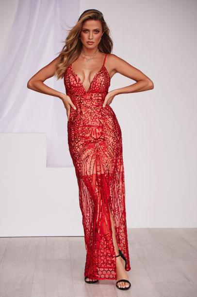 dress sequin maxi dress red formal prom dress homecoming dress sequins thigh high split