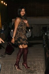 dress,ruffle,ruffle dress,priyanka chopra,celebrity,mini dress,boots