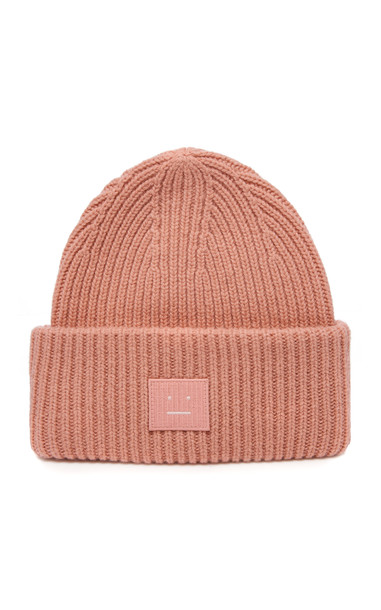 Acne Studios Pansy Appliquéd Ribbed Wool-Blend Beanie in pink