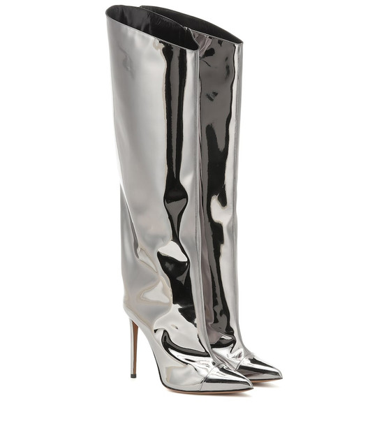 Alexandre Vauthier Alex metallic over-the-knee boots in silver