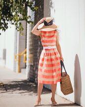 dress,midi dress,sleeveless dress,belt,striped dress,pumps,maxi bag,woven bag,sun hat