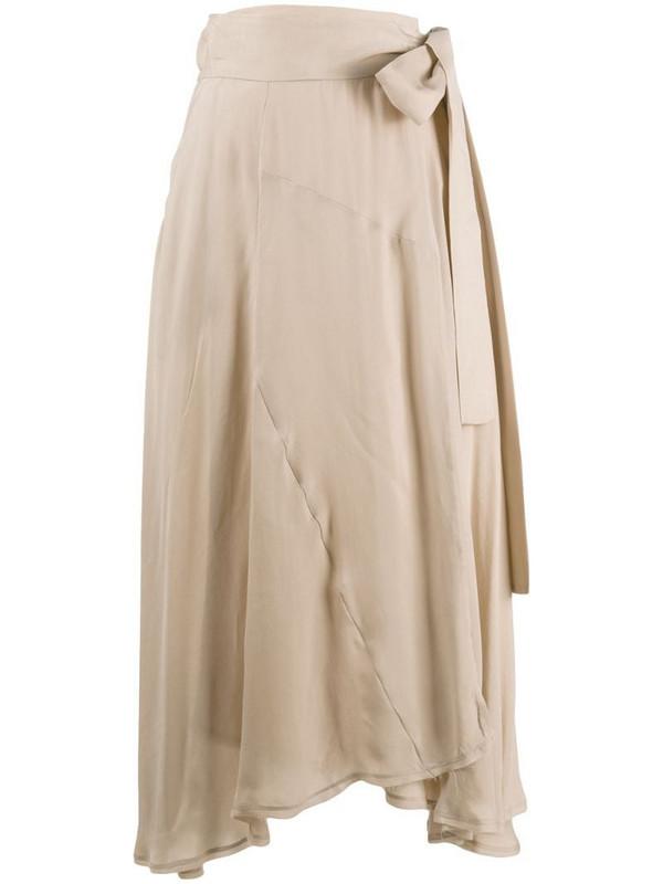 Maison Flaneur high-waisted side tie skirt in neutrals