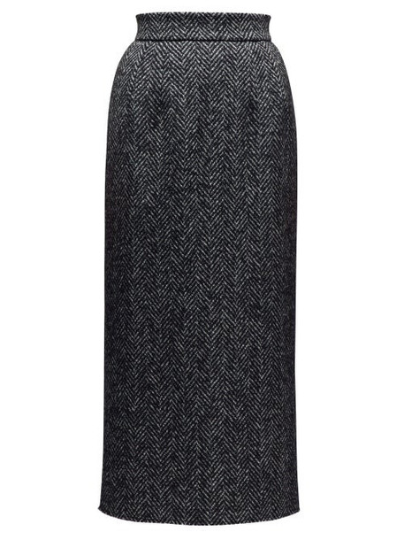 Dolce & Gabbana - Herringbone Pencil Skirt - Womens - Grey Multi