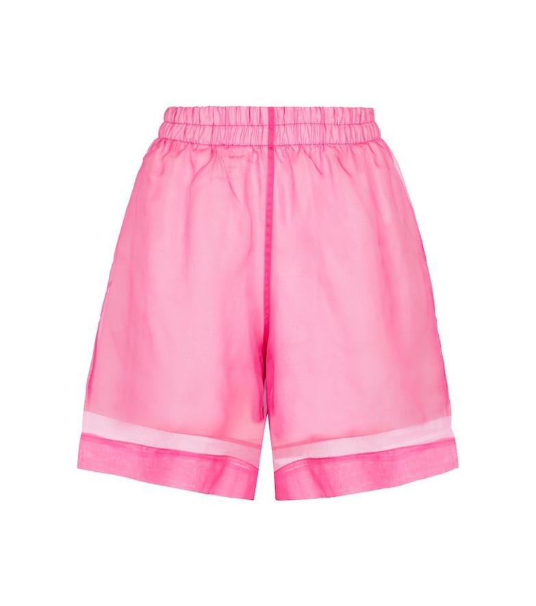 Dries Van Noten Cotton and silk organza shorts in pink