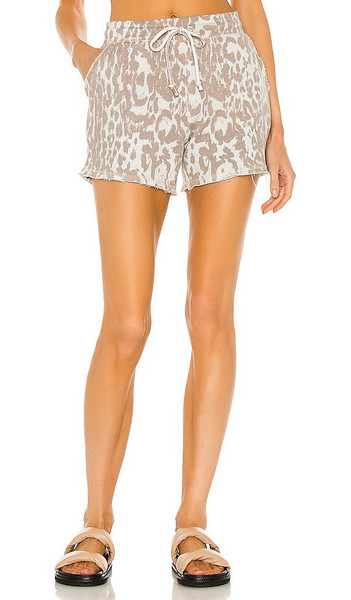 Chaser Linen French Terry Easy Shorts in Taupe in white