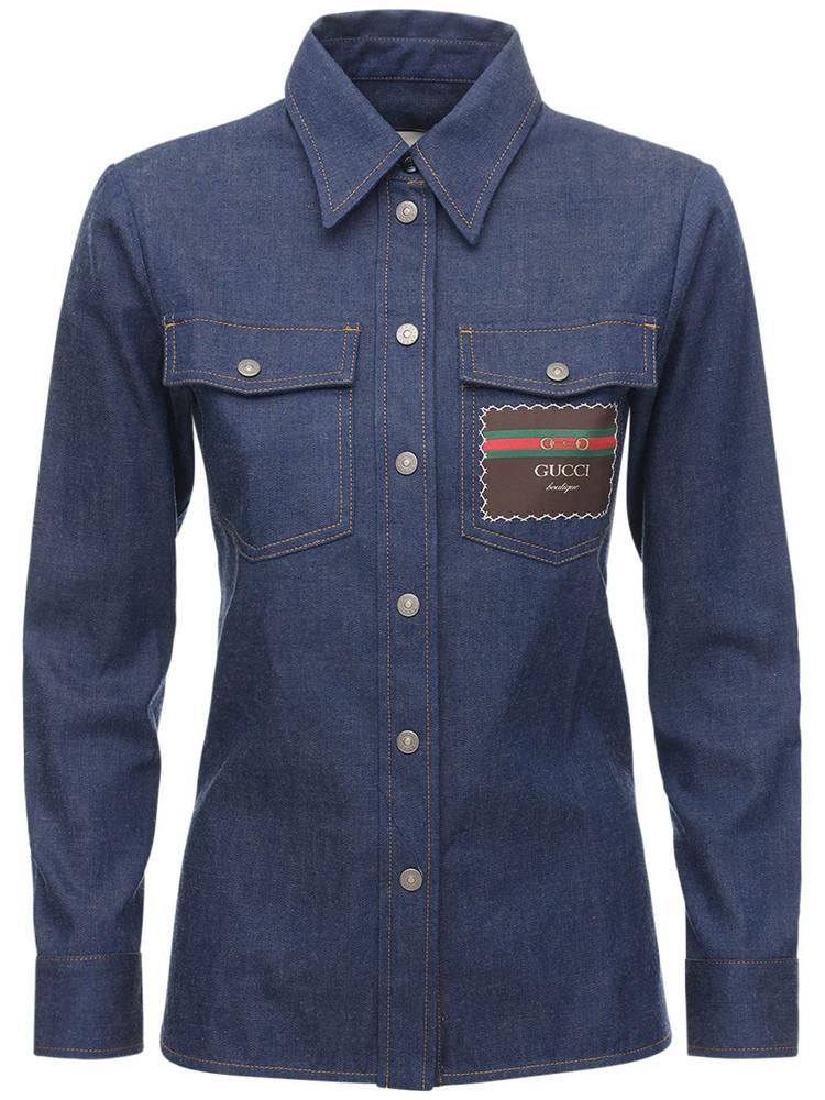 GUCCI Cotton Denim Shirt Jacket W/ Label