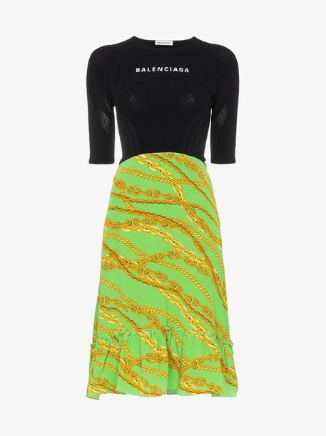 Balenciaga logo print patterned skirt silk blend dress