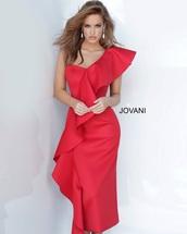 dress,red knee length off shoulder ruffle dress