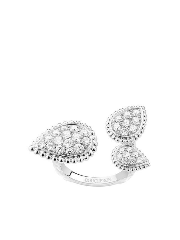 Boucheron 18kt white gold diamond Serpent Bohème ring in silver