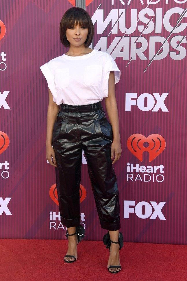 shoes black and white pants top sandals celebrity kat graham iheartradio