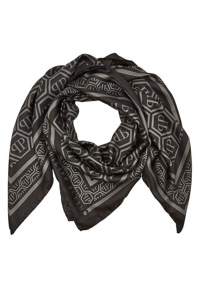 Philipp Plein Printed Silk Scarf  in black