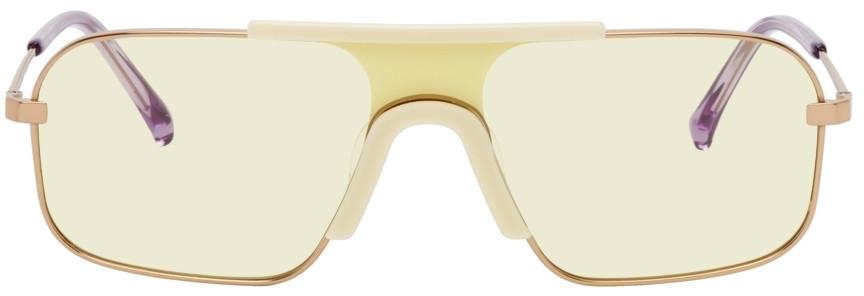 PROJEKT PRODUKT Rose Gold Titanium Shield Sunglasses in yellow