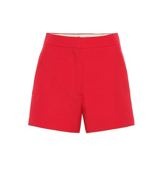 Valentino High-rise wool and silk shorts in red