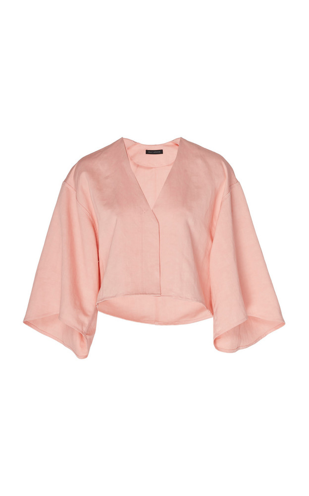Sally LaPointe Linen Lyocell Cropped Kimono Top in pink