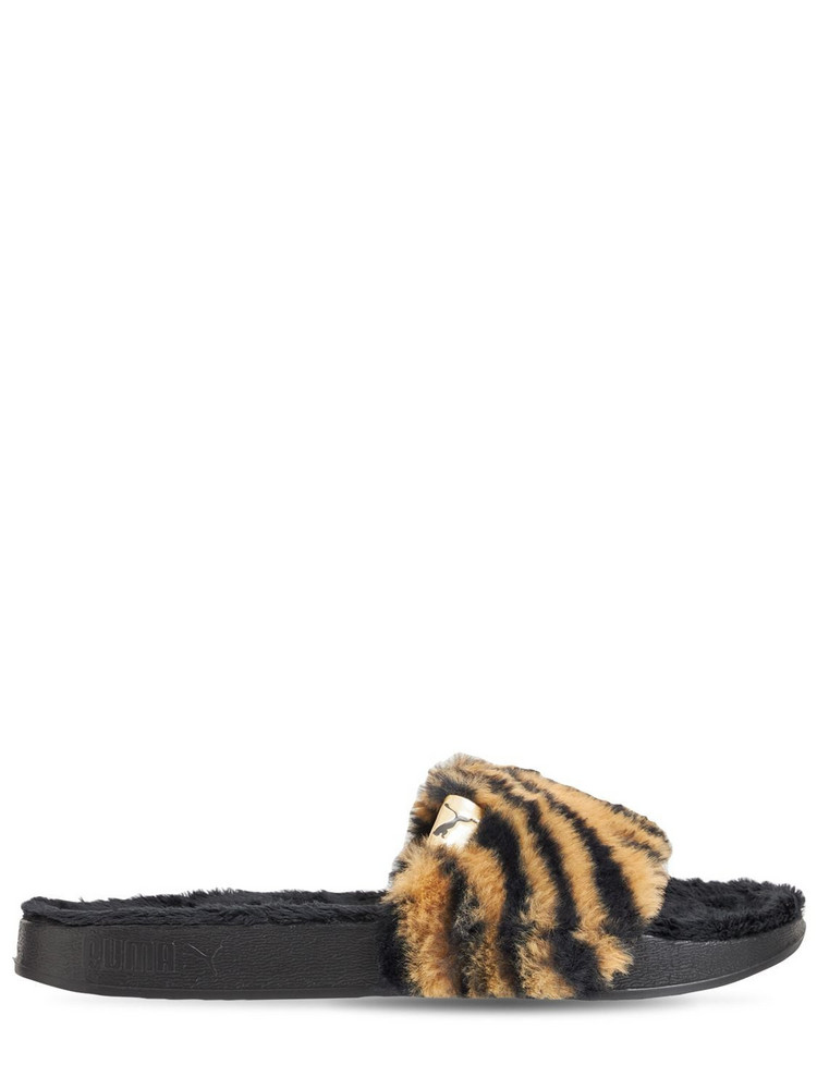 PUMA Leadcat Ylm Faux Fur Sandals in black