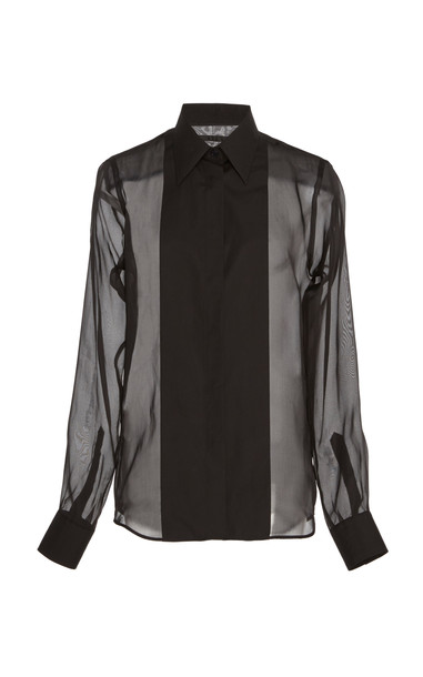Helmut Lang Sheer Silk Tuxedo Shirt in black