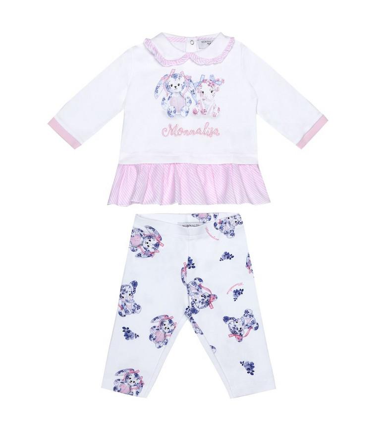 Monnalisa Baby cotton top and leggings set in white