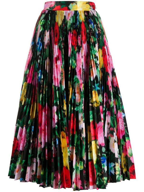 Richard Quinn floral print pleated skirt in black