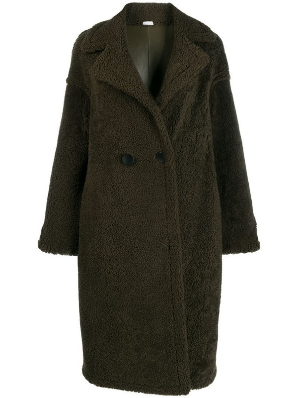 Liska reversible double breasted coat in green