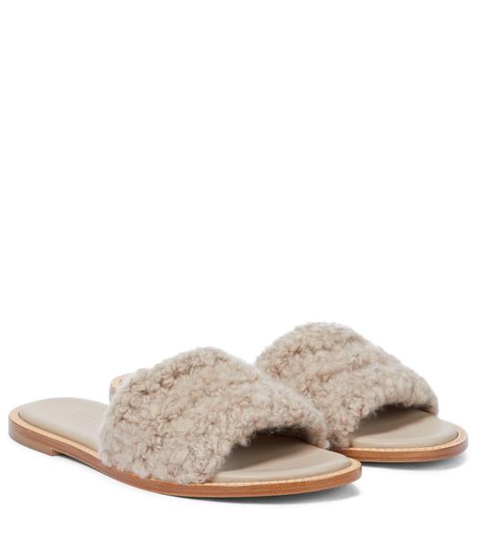Gabriela Hearst Ballast shearling sandals in beige