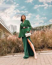 jacket,blazer,green,houndstooth,celine,maxi dress,green dress,slit dress,velvet dress,belt,bag