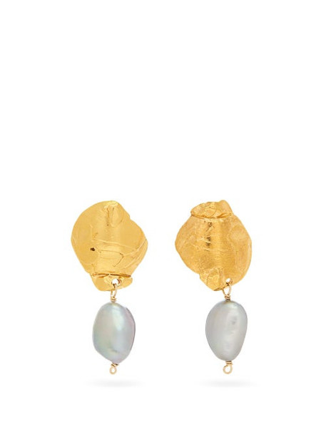 Alighieri - Shadow 24kt Gold-plated And Pearl Earrings - Womens - Yellow Gold