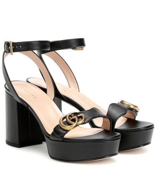Gucci Leather platform sandals in black