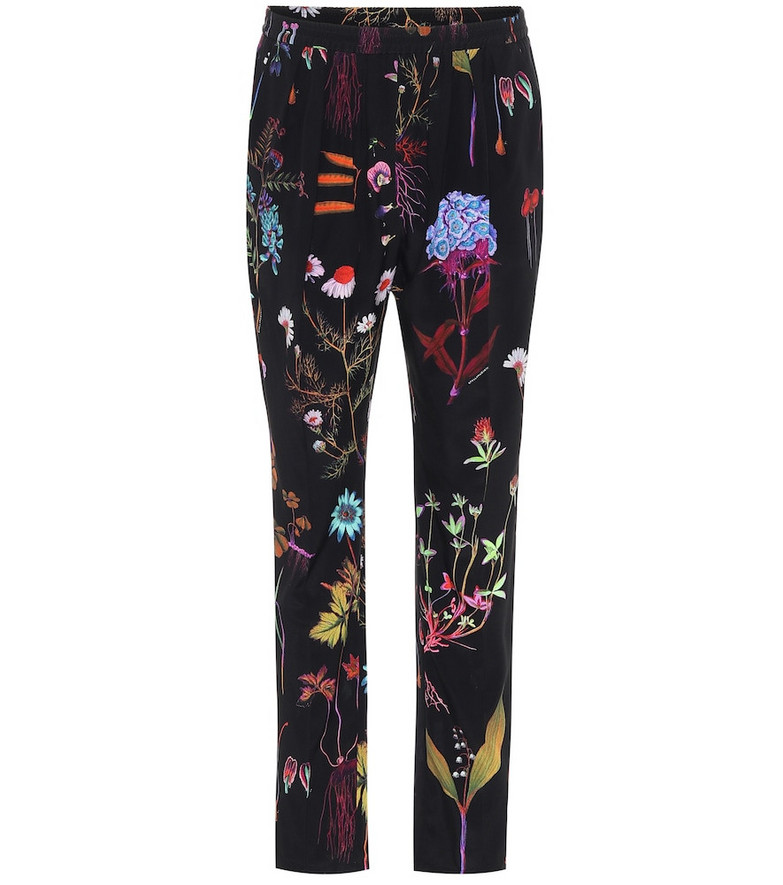 Stella McCartney Floral high-rise slim silk pants in black