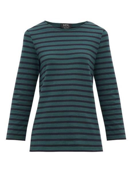 A.P.C. A.p.c. - Catarina Breton Striped Cotton Top - Womens - Green Multi
