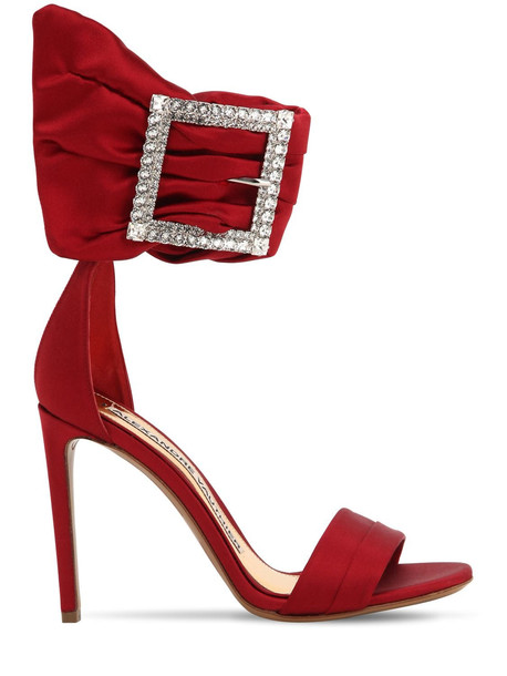 ALEXANDRE VAUTHIER 100mm Yasmin Satin Sandals W/ Crystals in red