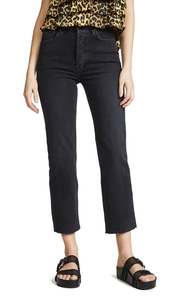 RE/DONE High Rise Stovepipe Jeans in black