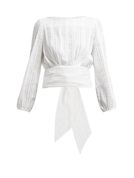 Merlette - Eyelet Cotton Blouse - Womens - White