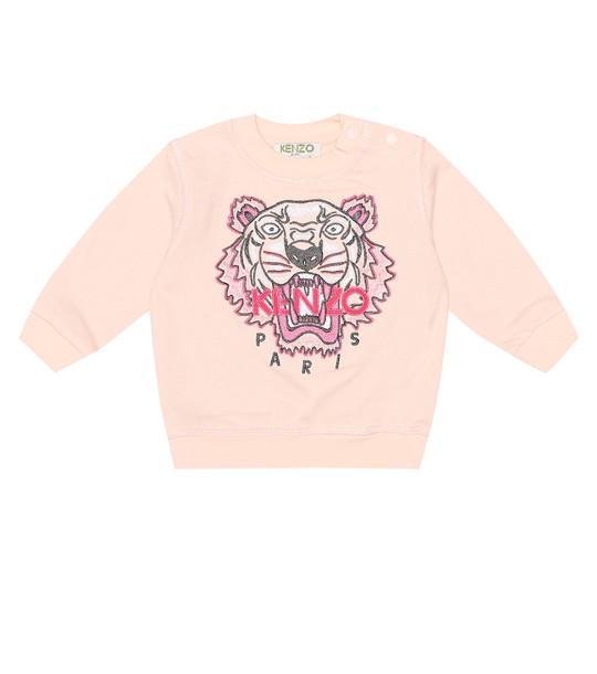 Kenzo Kids Baby Tiger logo cotton sweater in pink