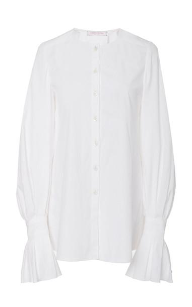 Carolina Herrera Crewneck Cotton Button Up Top in white
