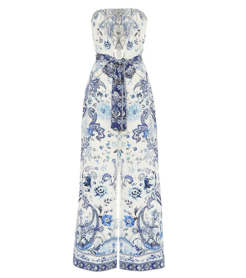 Camilla Embellished printed silk jumpsuit in blue