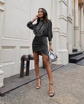 dress,black dress,sparkle,mini dress,black sandals,handbag