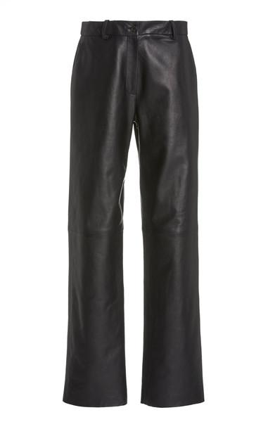 NILI LOTAN Atwater Flared Leather Pants in black