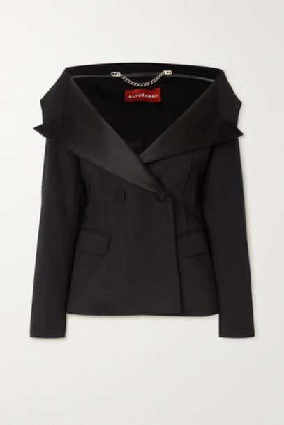 Altuzarra - Darlene Double-breasted Wool-blend And Stretch-silk Blazer - Black