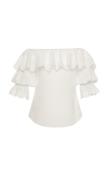 Lena Hoschek Arriba Ruffled Off-The-Shoulder Cotton Top Size: L in white