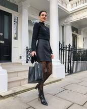 skirt,black leather skirt,high waisted skirt,black boots,ankle boots,tights,black bag,black sweater