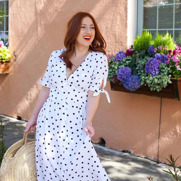 tf diaries blogger dress bag shoes make-up polka dots spring outfits straw bag
