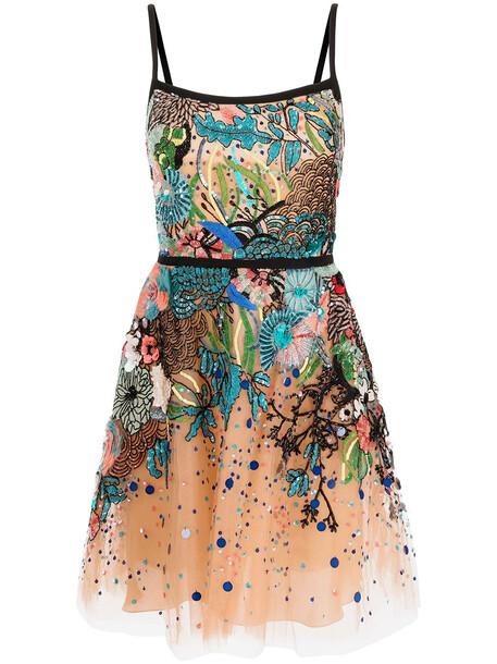 Elie Saab sequin-embellished tulle mini dress - Multicolour