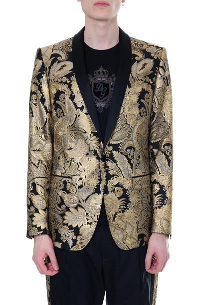Dolce & Gabbana Mixed Silk Damask Revers Jacket in black / gold