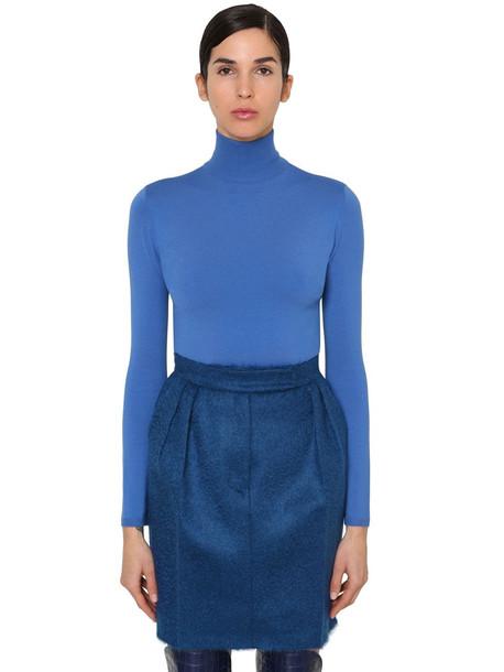 MAX MARA Virgin Wool Knit Turtleneck Sweater in blue