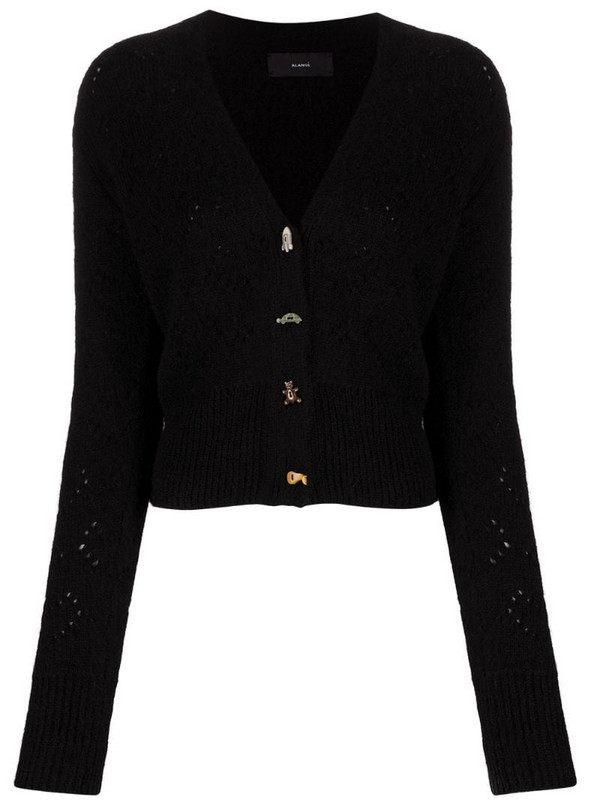 Alanui assorted-button pointelle-knit cardigan in black