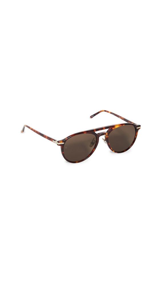 Linda Farrow Luxe Acetate Aviator Sunglasses in brown