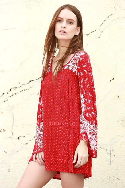 dress dressfo red dress boho casual trendy summer fashion